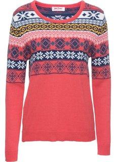 Пуловер (омаровый с узором) Bonprix