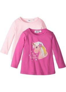 Длинная футболка (2 шт.) (цвет фуксии с рисунком+нежно-розовый) Bonprix