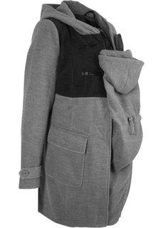 Для будущих мам: дафлкот с карманом-вставкой для малыша (серый меланж) Bonprix