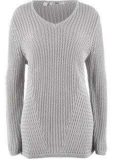 Вязаный пуловер со структурным узором (серебристый матовый) Bonprix