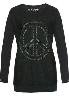 Удлиненный пуловер с аппликацией Мир из стразов (антрацитовый меланж) Bonprix