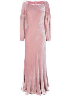 длинное бархатное платье со сборками Alberta Ferretti