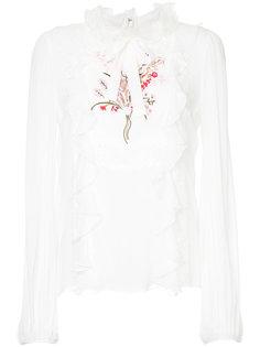 блузка с вышивкой и оборкой  Giambattista Valli