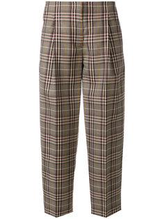 клетчатые укороченные брюки Victoria Beckham