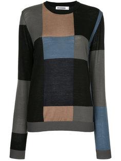 свитер с круглым вырезом и узором  Jil Sander