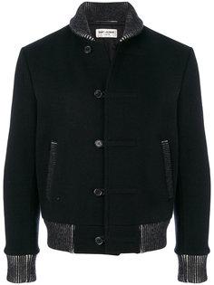 куртка с контрастными деталями в рубчик Saint Laurent