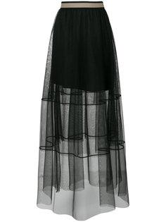 полупрозрачная юбка с завышенной талией  Brunello Cucinelli