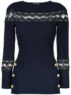 свитер с кружевной вставкой и пуговицами  Alberta Ferretti