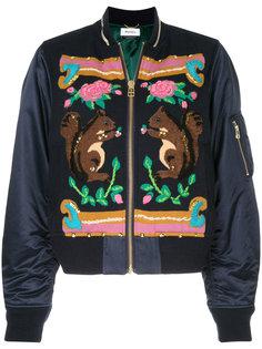 intarsia panel bomber jacket  Muveil