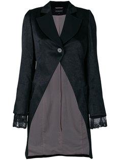 асимметричное пальто с кружевной отделкой  Ann Demeulemeester
