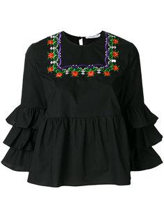 блузка с вышивкой и оборками  Vivetta