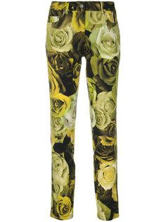 брюки с цветочным принтом и завышенной талией  Moschino