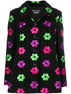 пальто с цветочной вышивкой  Moschino