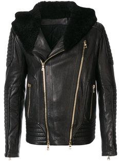 байкерская куртка с меховым воротником Balmain
