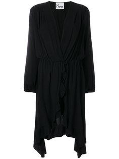 асимметричное платье с оборкой  8pm
