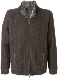 lined cable cashmere cardigan N.Peal