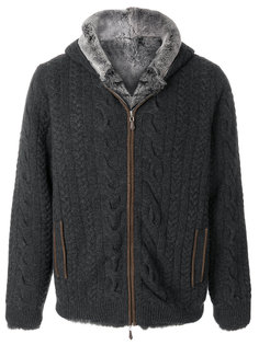 lined cable cashmere hoodie N.Peal
