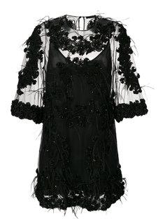 платье с отделкой перьями  Amen Amen.