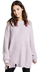 Moon River Lavender Distressed Sweater