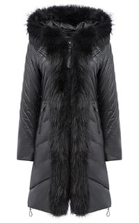Утепленное пальто из натуральной кожи с отделкой мехом енота La Reine Blanche