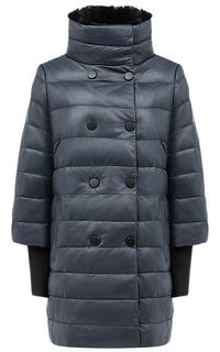 Куртка из натуральной кожи со съемным воротником из меха кролика La Reine Blanche
