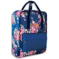 Рюкзак молодежный Феникс+, цветы на синем