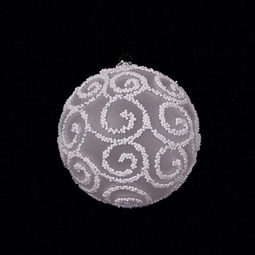 "ёл. укр. набор шаров ""CLASSIC WHITE"" 8см, 4шт, прозрачный с белым рисунком"