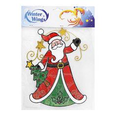 """Наклейка панно на окно Winter Wings """"Санта с елкой"""" 31х28 см, гелевая"""