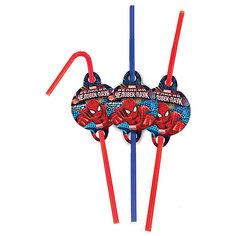 F Трубочки для коктейля Человек-Паук 6шт Патибум