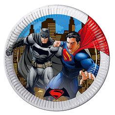 Pc 23см Тарелки бумажные ламинированные металлик Бэтмен против Супермена 8шт Procos
