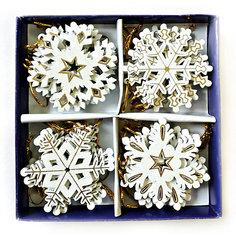 Деревянные новогодние украшения на подвесках - снежинки, 6 см, 24 шт в наборе, картонная коробка с пвх. Mag2000