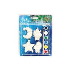 Набор для детского творчества, керамика. 4 фигурки- 5*1*6,5 см, 6 красок, в синей коробке 19*2,5*24 см Mag2000