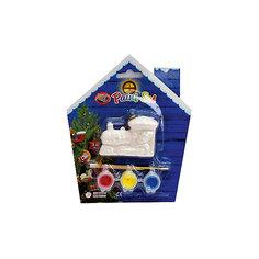 Набор для детского творчества, керамика, паравоз 6,5*4,5*2,3 см, 3 краски, в синей коробке  14*14 см Mag2000