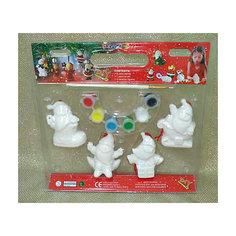 Набор для детского творчества, керамика, 4 фигурки 6*3*7 см, 6 красок, в синей коробке 27,5*5,5*25 см Mag2000