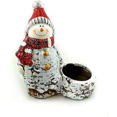 Новогоднее украшение - снеговик-подсвечник, 11,1*5,8*12,8 см Mag2000