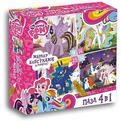 Пони.Пазл.Набор.4в1.9-16-25-36Эл.+маркер с блестками.Золотые пони.02105 Origami