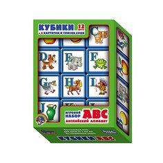 """Выдувка. Кубики с бортиком """"ABC. Английский алфавит"""" 12 эл (5,5 см) Десятое королевство"""