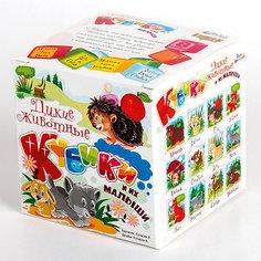 """Кубики""""Дикие животные и их малыши"""" (без обклейки) 8 шт. Десятое королевство"""