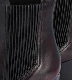 Бордовые ботильоны из натуральной кожи на каблуке Bronx