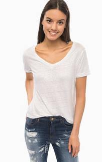 Льняная футболка с треугольным вырезом Armani Jeans