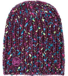 Фиолетовая вязаная шапка с подкладкой Buff