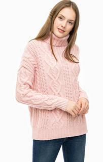 Розовый свитер крупной вязки с высоким воротом Superdry
