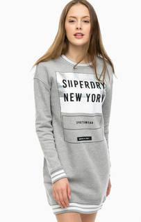 Короткое серое платье с принтом Superdry