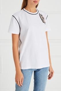 Хлопковая футболка с вышивкой кристаллами Miu Miu