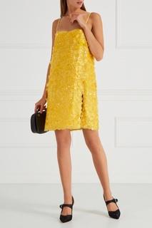 Шелковое платье с пайетками Miu Miu