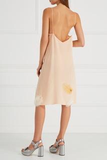 Шелковое платье-комбинация с перьями Miu Miu