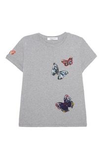 Хлопковая футболка с бабочками Valentino