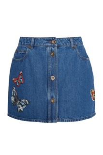 Джинсовая юбка с бабочками Valentino