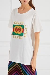 Белая футболка с монограммой Gucci