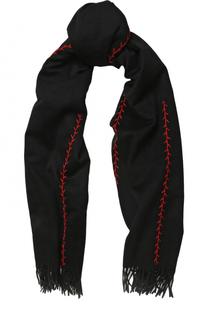 Кашемировый шарф с контрастной прострочкой Alexander McQueen
